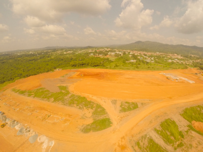 10th December 2014 Full Fomena Hospital Site - Showing Work on the Staff Housing